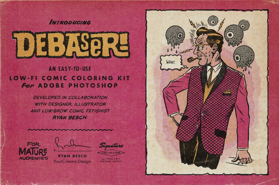 DEBASER: Low-Fi Comic Coloring Kit For Photoshop – True Grit