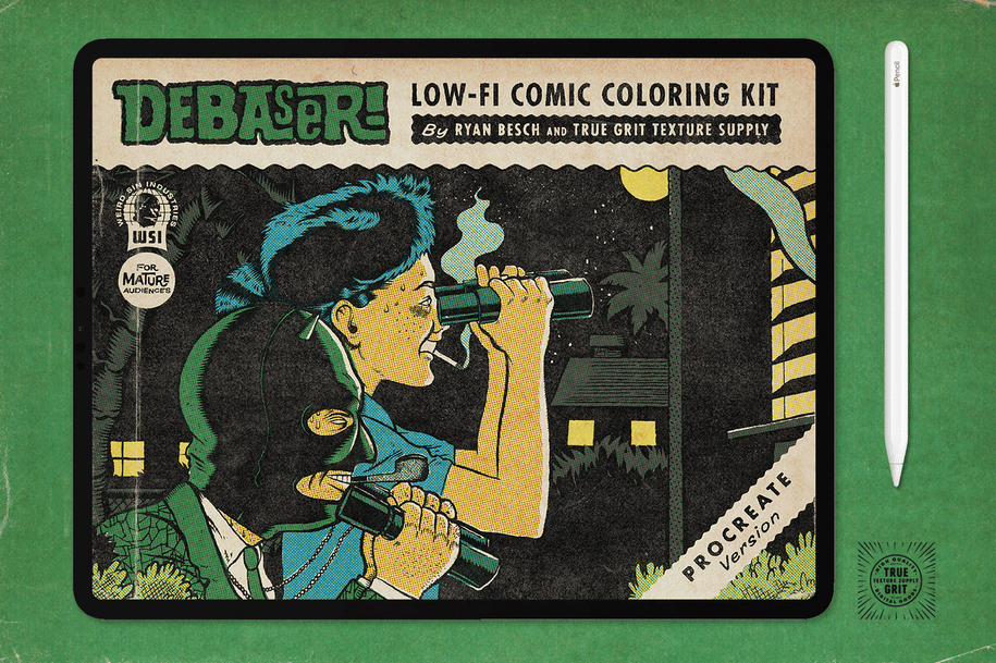 DEBASER: Low-Fi Comic Coloring Kit For Photoshop – True Grit Texture