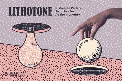 LITHOTONE DISTRESSED PATTERN SWATCHES For Adobe Illustrator Letraset
