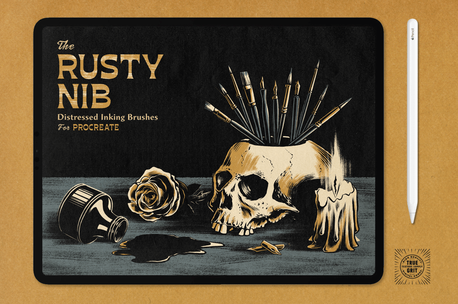 The Rusty Nib for Procreate – True Grit Texture Supply