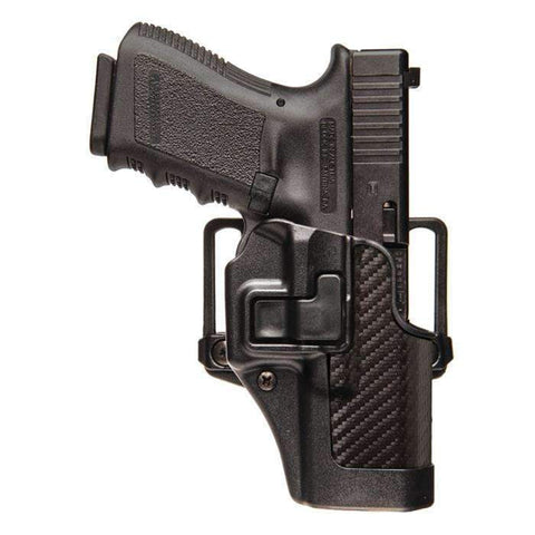 BlackHawk CQC SERPA Holster With Belt and Paddle Attachment, Fits Colt Commander, Right Hand, Carbon Fiber, Black