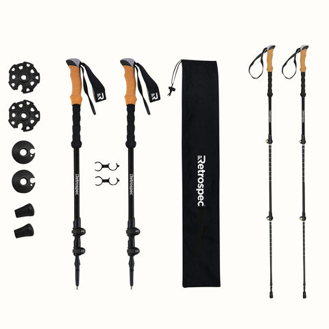 Retrospec Carbon Fiber Trekking Poles Black