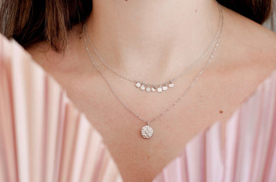 Silver Star Disc Necklace