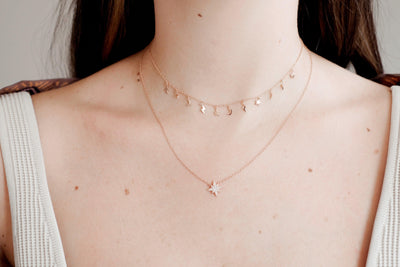 Rose Gold Star and Moon Choker