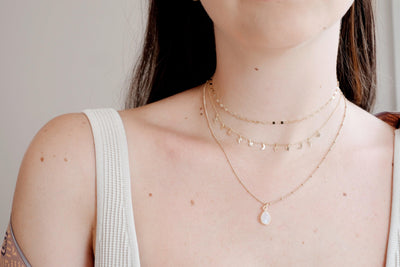 Gold Moonstone Drop Necklace