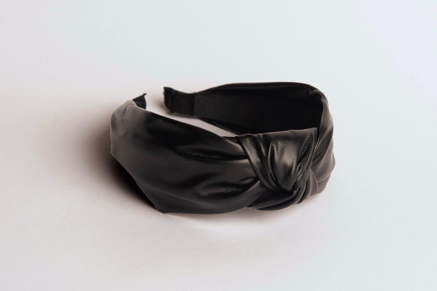 Duplantis Faux Leather Black Headband