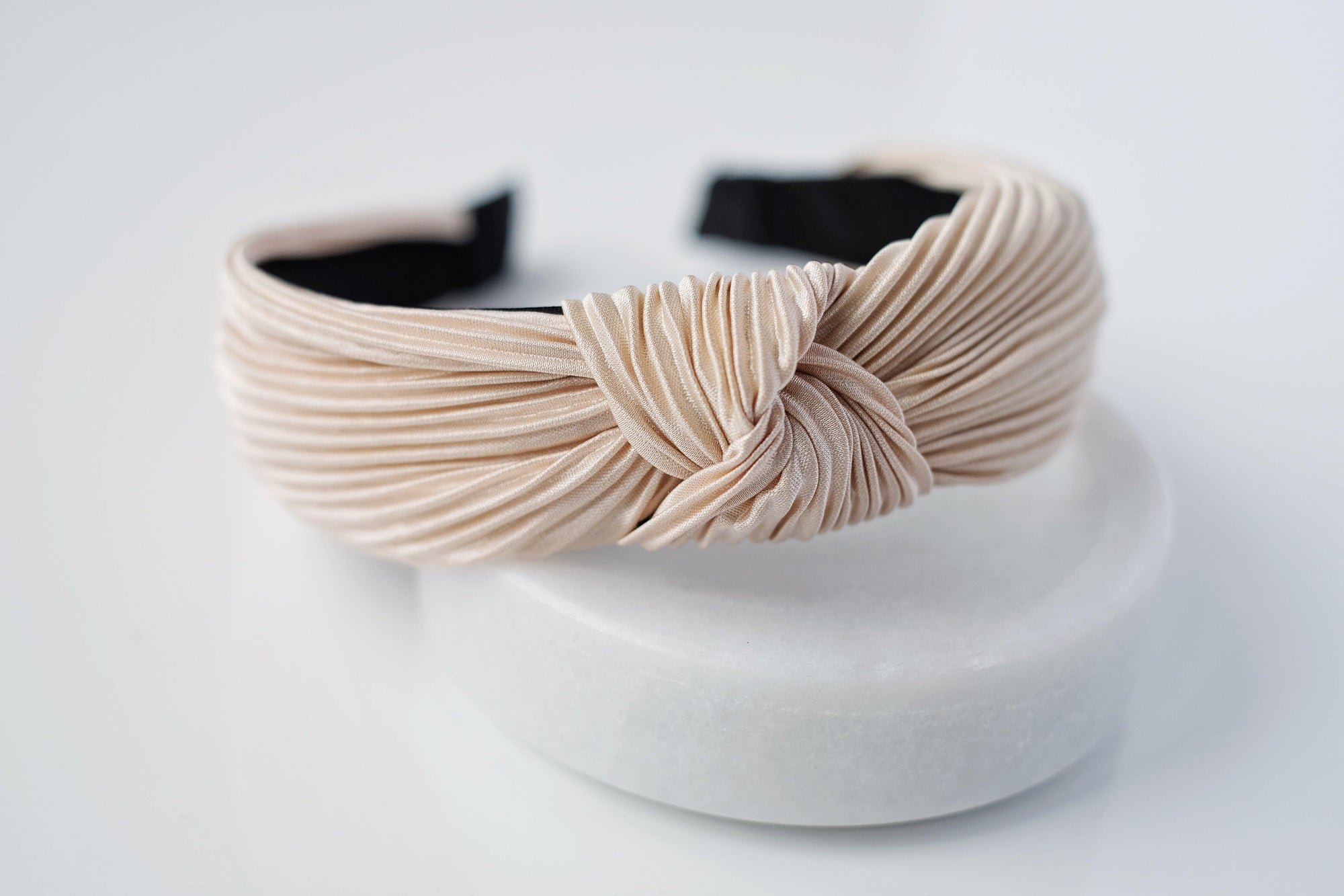Cream Pleated Headband