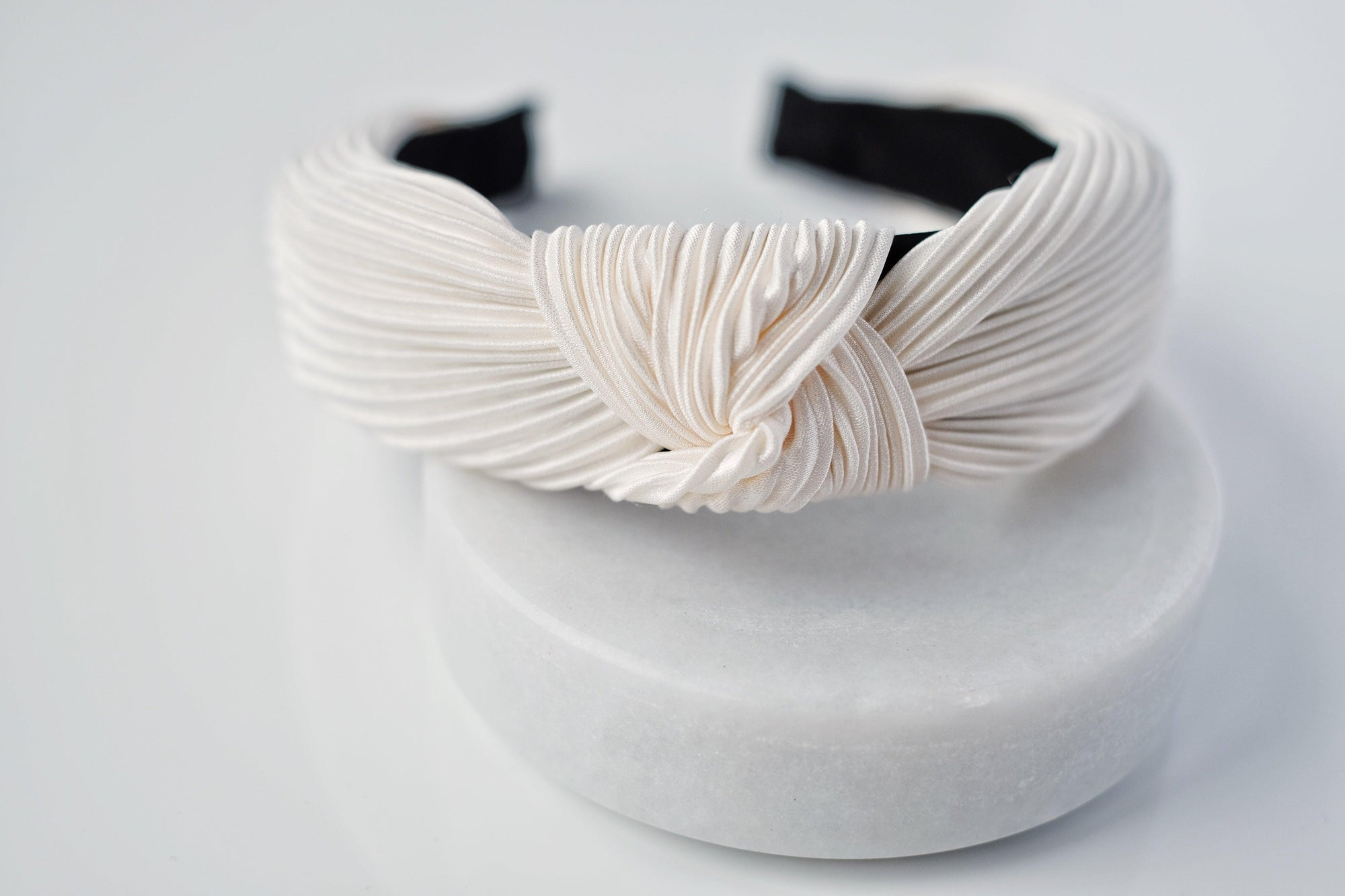 Crisp White Pleated Headband