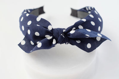 Navy Polka Dot Tie Headband