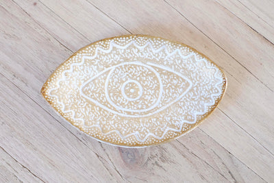 White and Gold Eye Dish