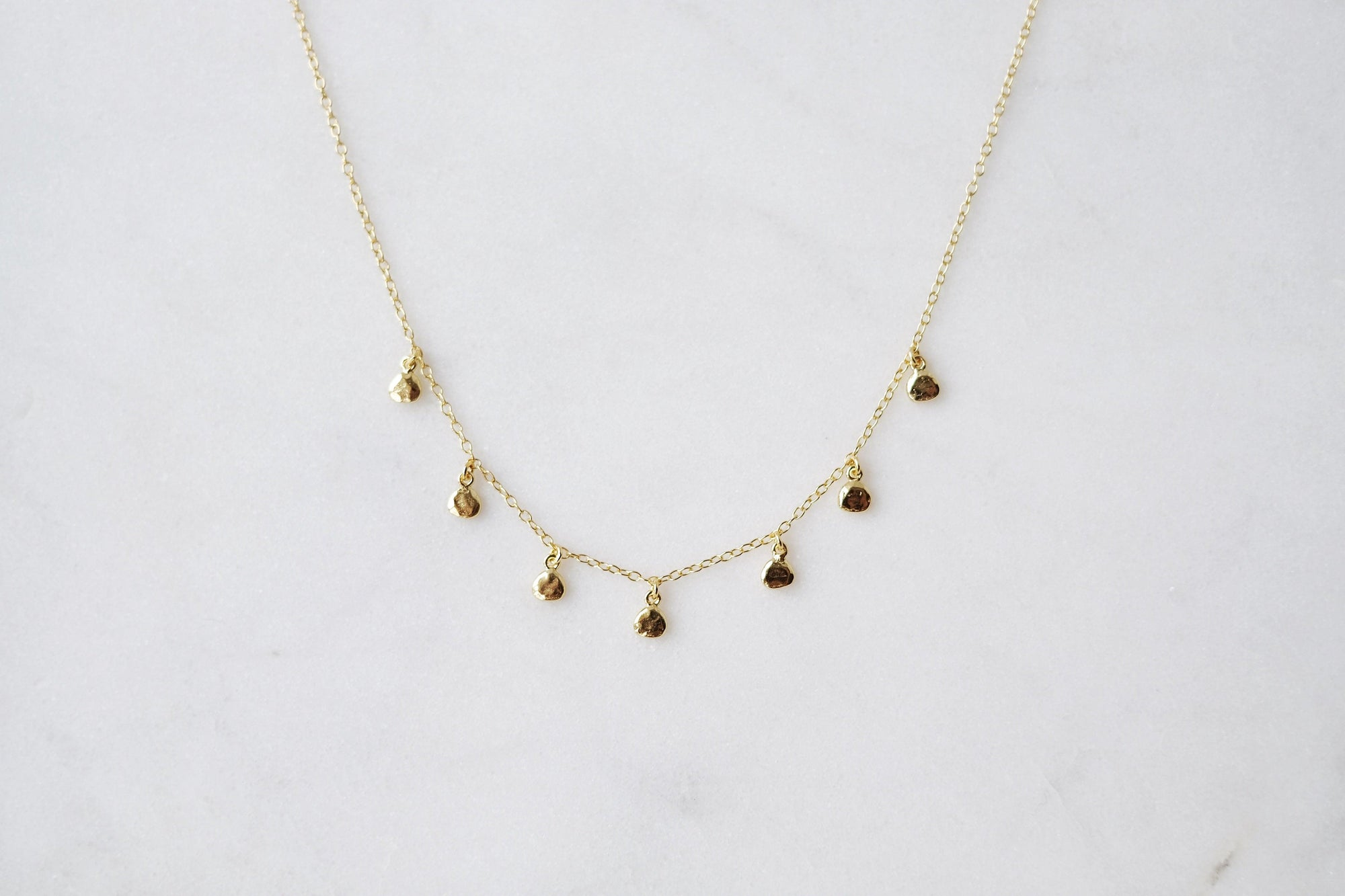 Gold Drop Disc Necklace