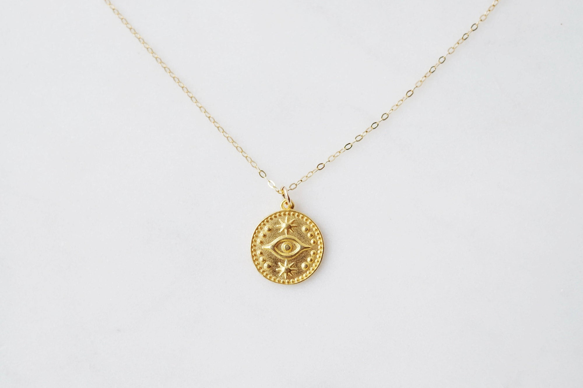 Gold Evil Eye Coin Necklace