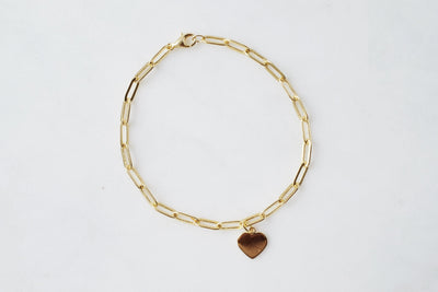 Thick Gold Connection Bracelet with Heart