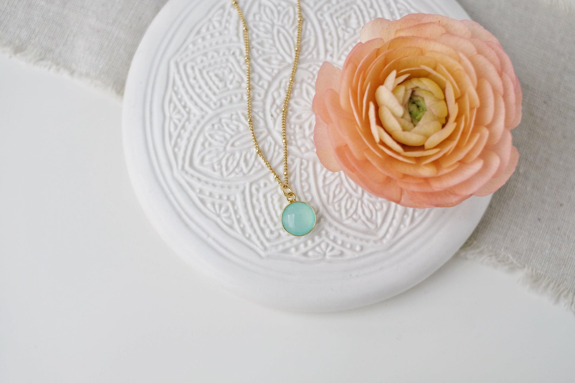 Gold Chalcedony Drop Necklace