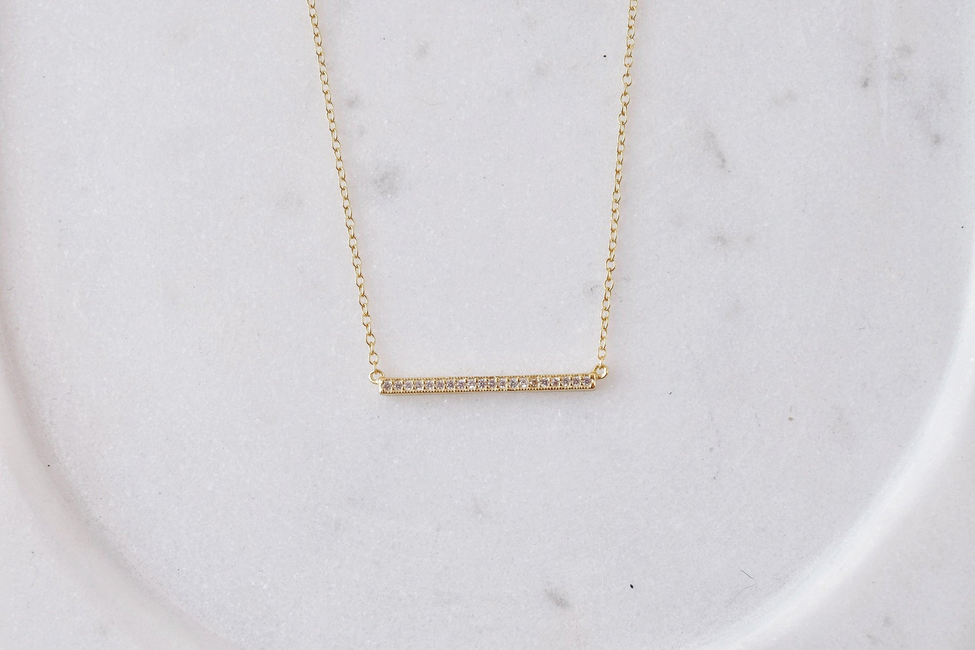 Gold Sparkle Bar Necklace