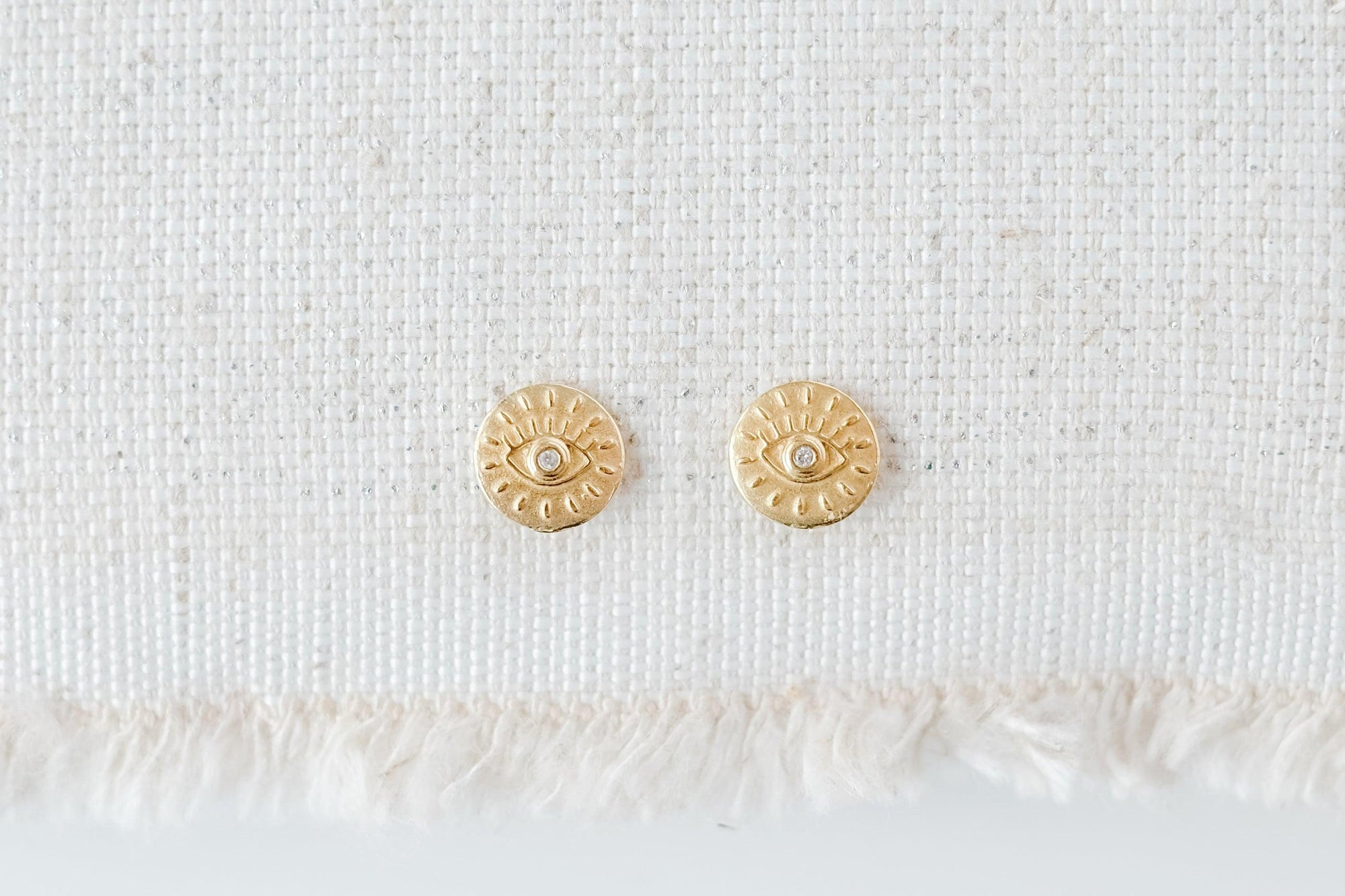 Gold Evil Eye Disc Earrings
