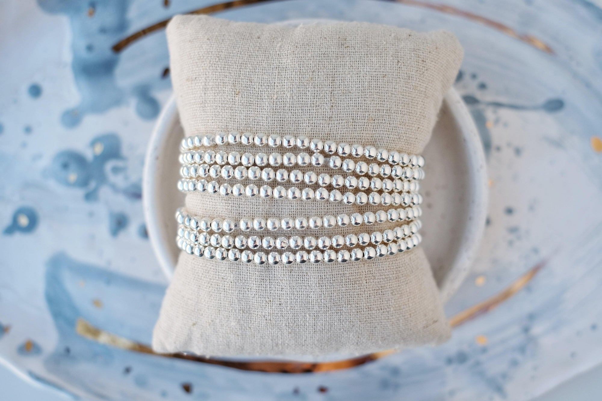 4mm Silver Ball Stretch Bracelet