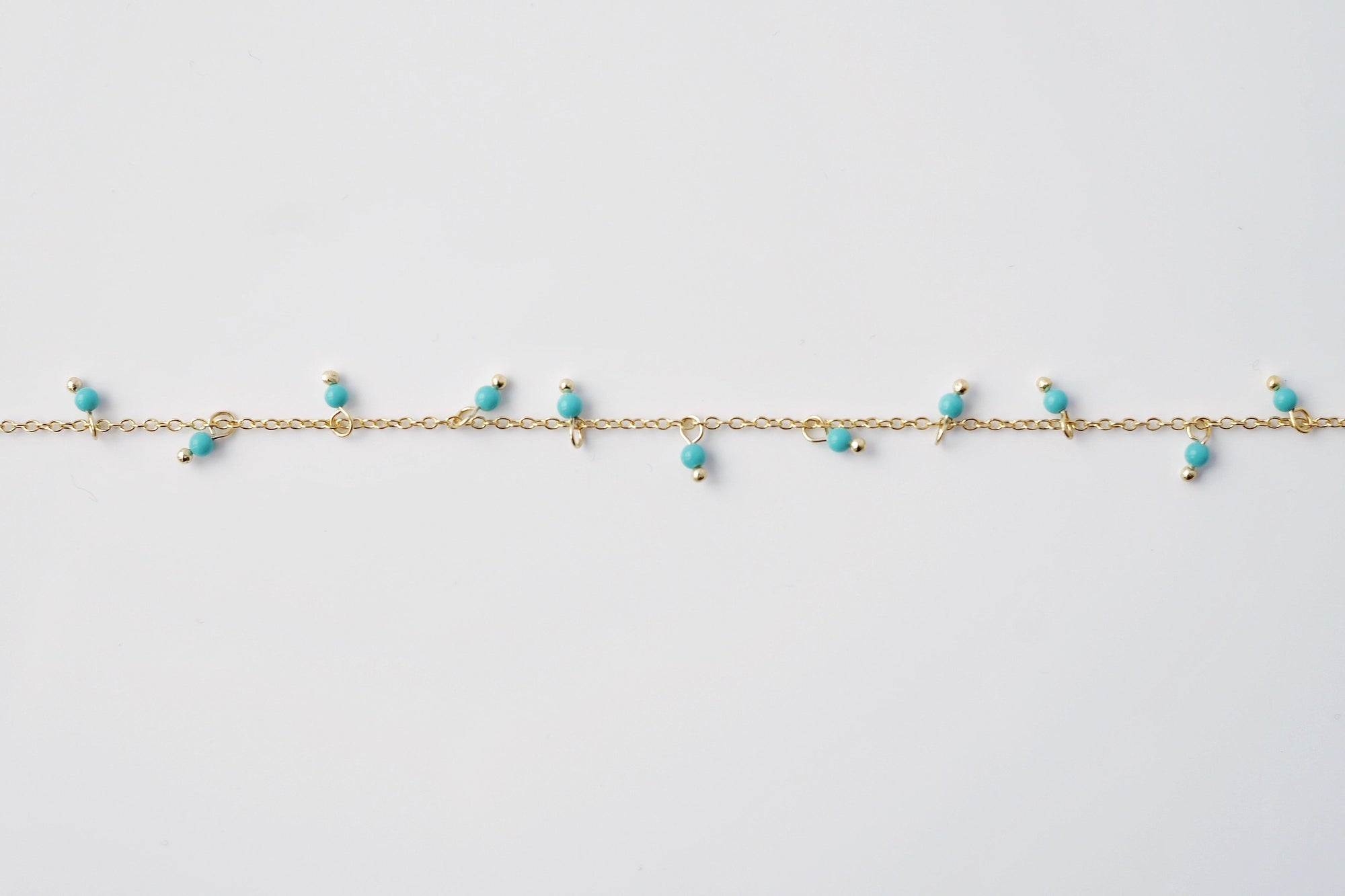 Gold + Aqua Beads Anklet