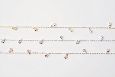 Silver Crystal Drop Chain Anklet