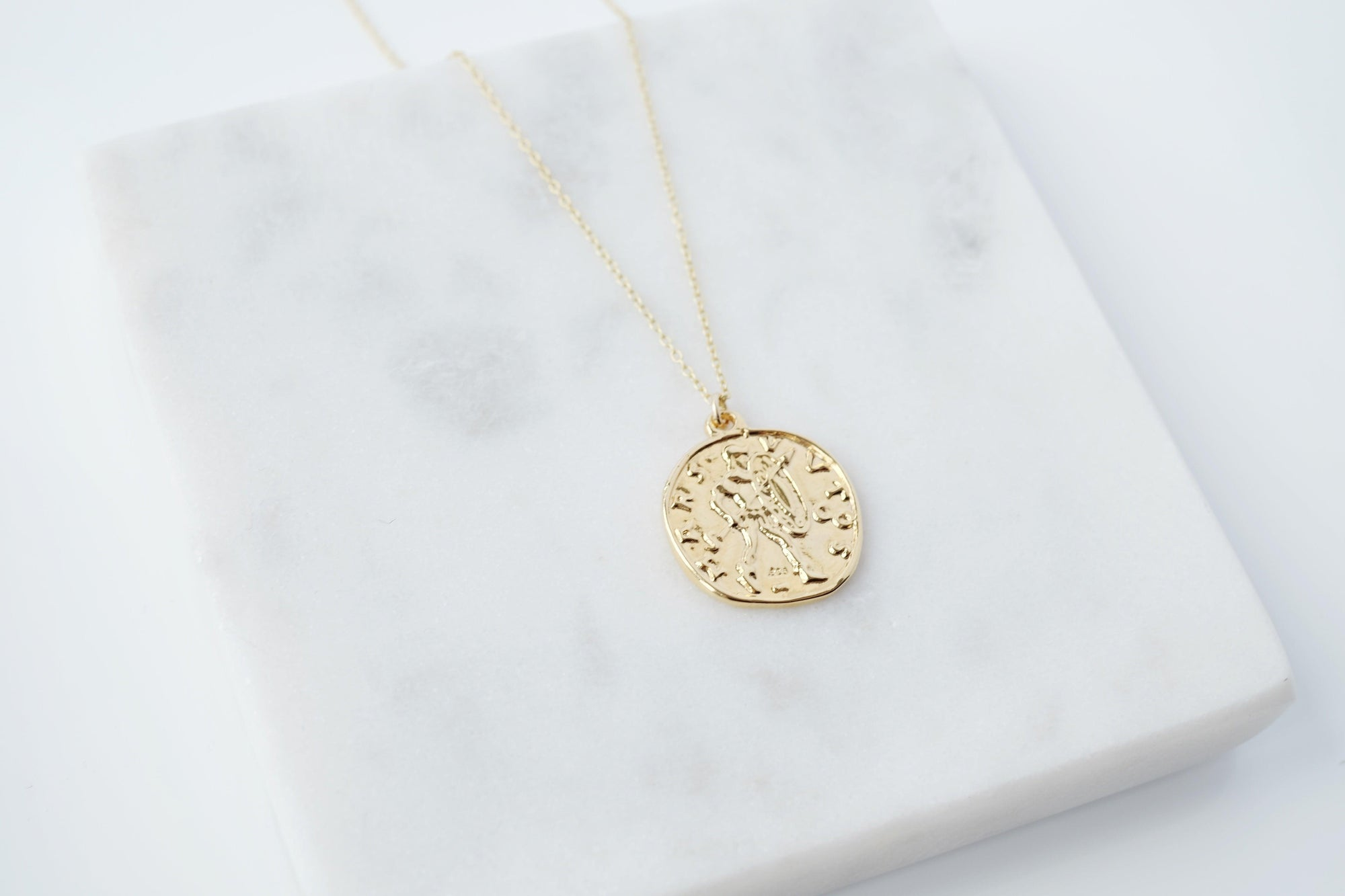 Gold Mars Coin Necklace