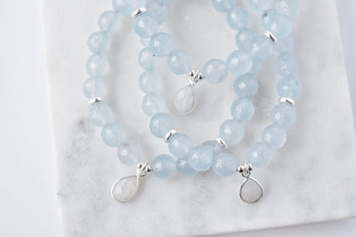 Blue Agate Bracelet with Moonstone Charm