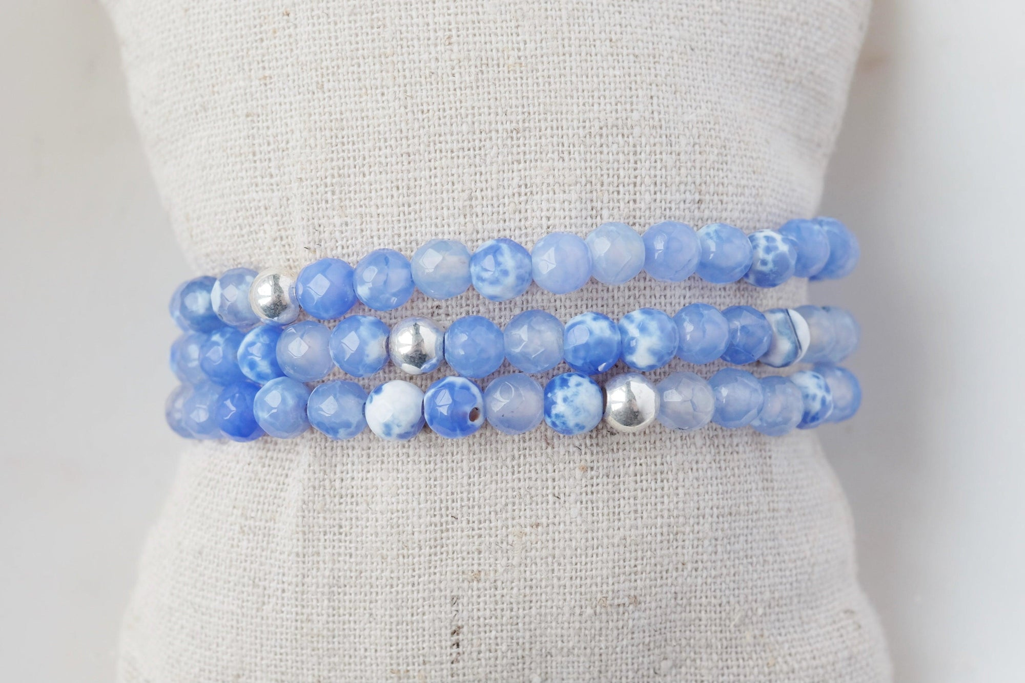 Dark Blue Lace Agate Bracelet