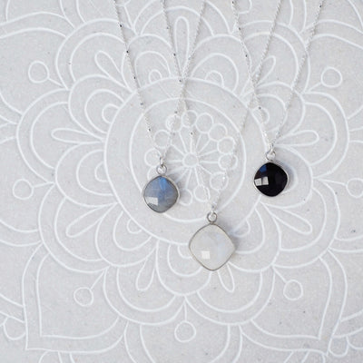 Squared Onyx Drop Necklace