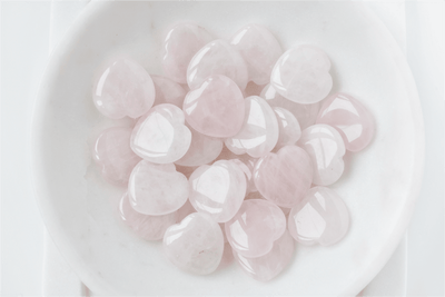 Mini Rose Quartz Tumbled Heart Stone