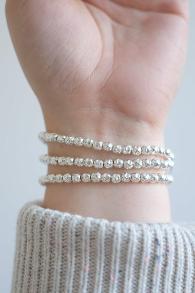 5mm Crinkle Silver Ball Stretch Bracelet