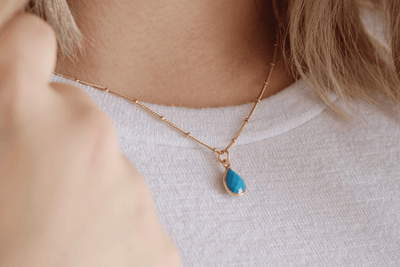 Gold Turquoise Drop Necklace