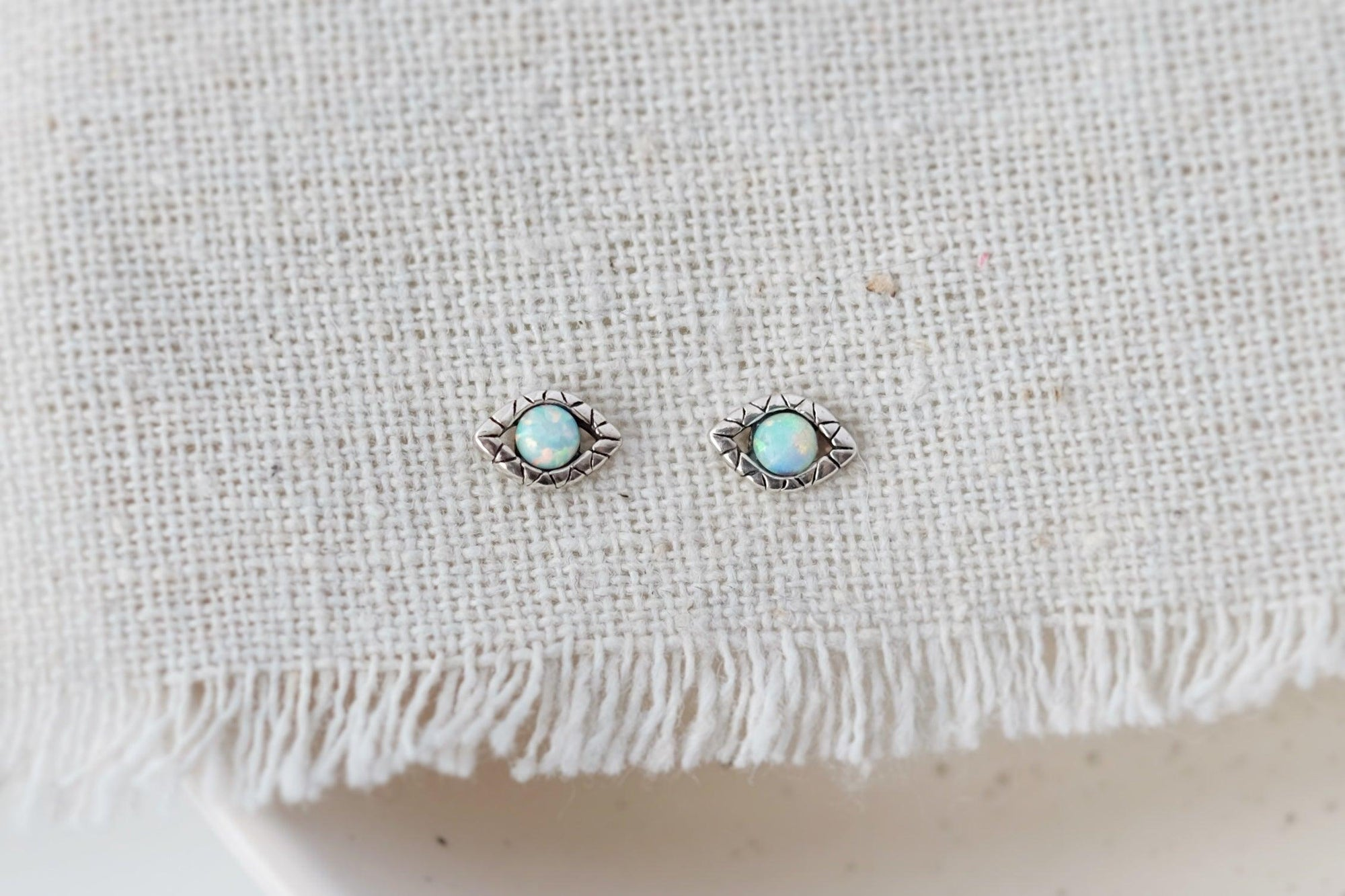 Opal Evil Eye Earrings