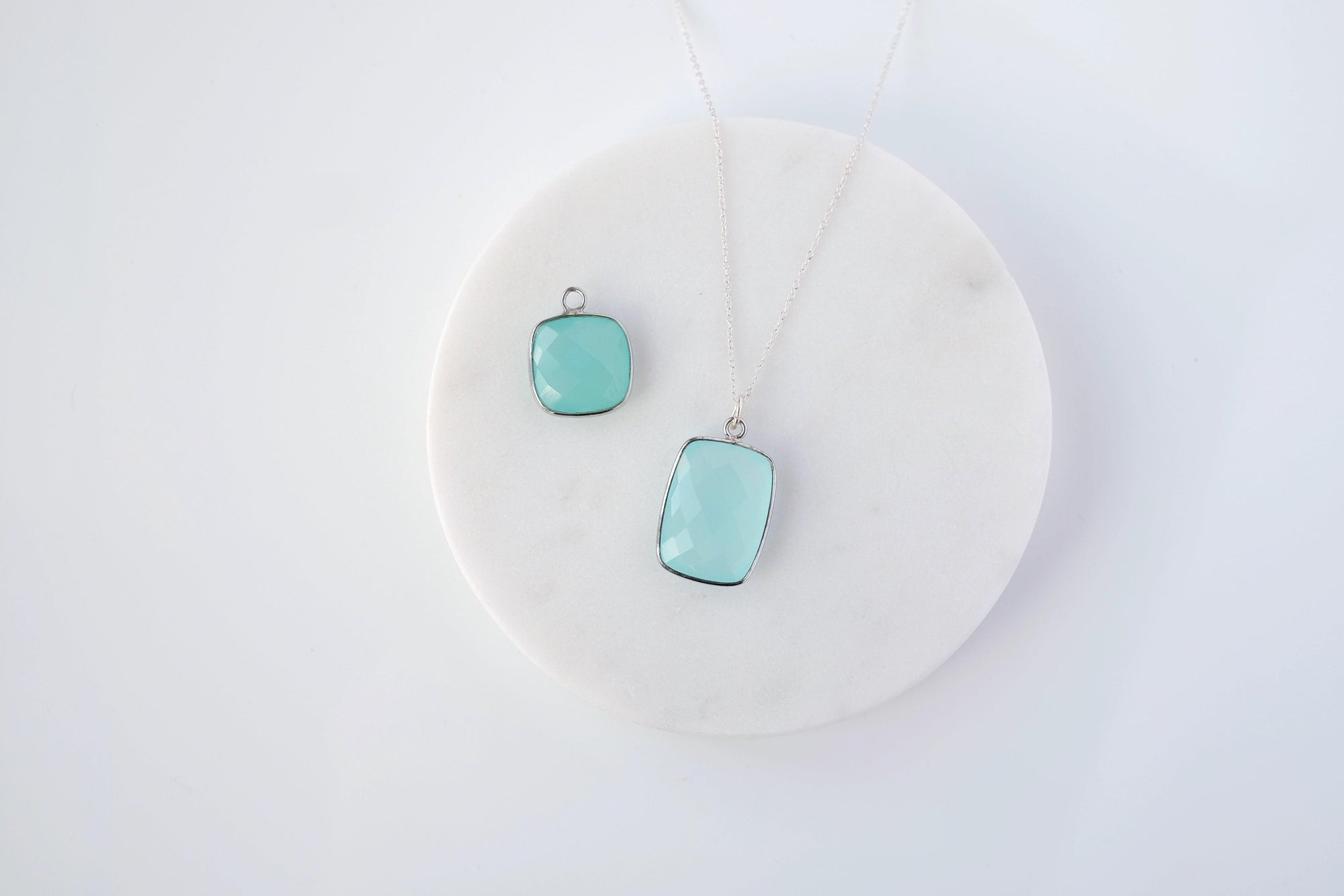 L Aqua Chalcedony Drop Necklace