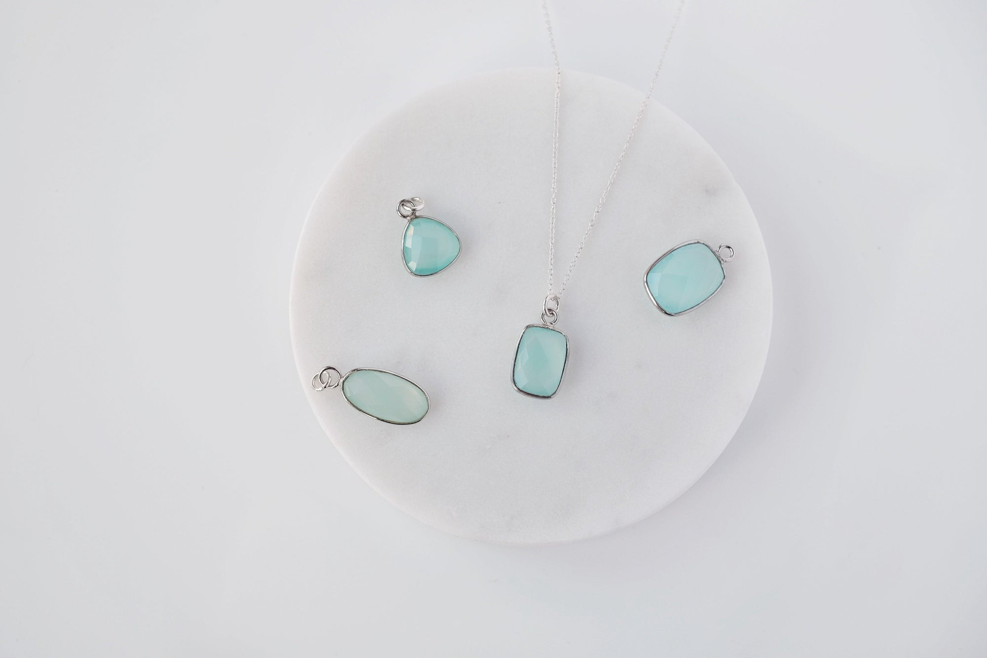 M Aqua Chalcedony Drop Necklace
