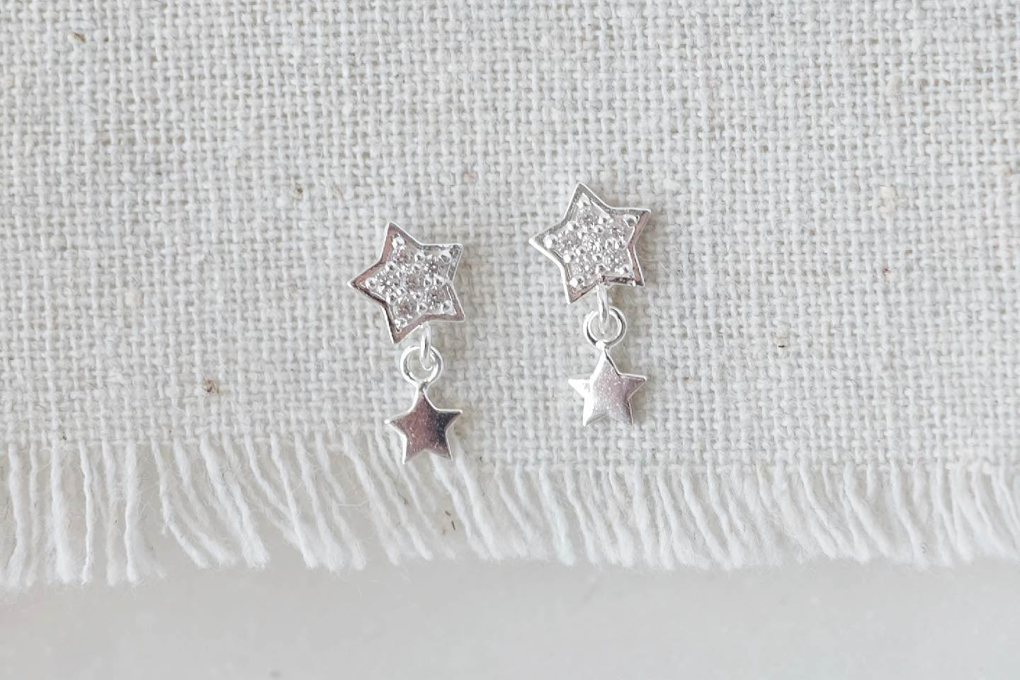 CZ Star Dangle Earrings