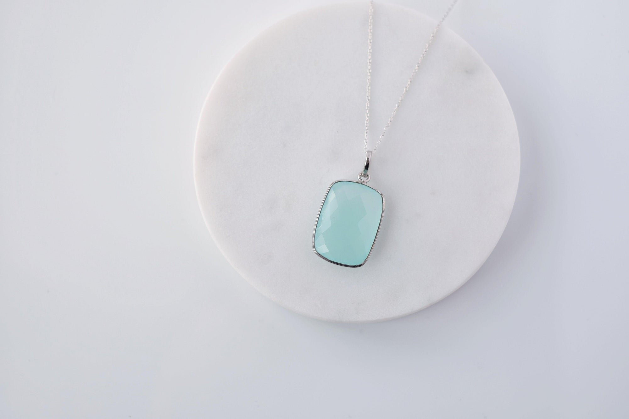 XL Aqua Chalcedony Drop Necklace