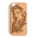 Wood Case, Tattooed Marilyn Monroe Wood-Pattern Case For iPhone 6 7 Case 4.7'' iPhone 6 7 Plus Case 5.5''