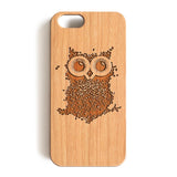 Wood Case, Coffee Owl Wood-Pattern Case For iPhone 6 7 Case 4.7'' iPhone 6 7 Plus Case 5.5''