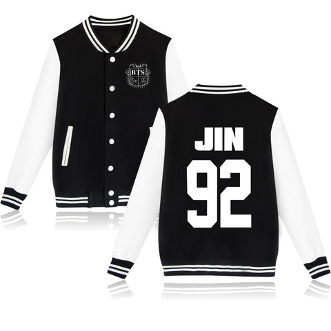 KPOP Bangtan Boys BTS JIN 92 Baseball Jacket Coat