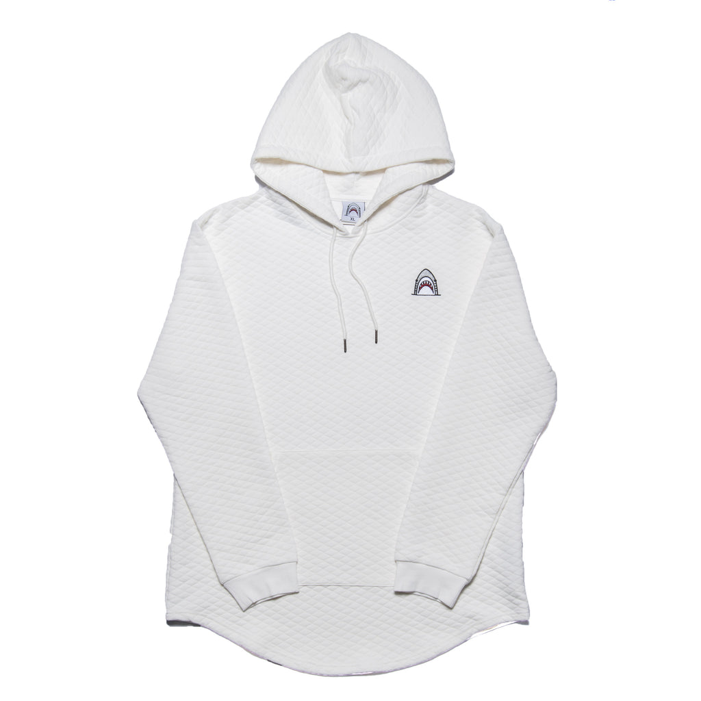 """Quilted Scoop"" White Cut & Sewn Hoodie"