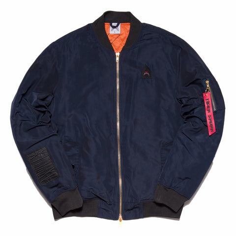 """Quilted King"" Navy Cut & Sewn Bomber"