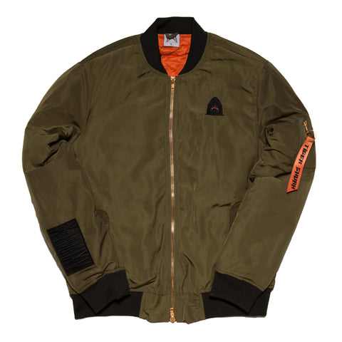 """Quilted King"" Olive Cut & Sewn Bomber"