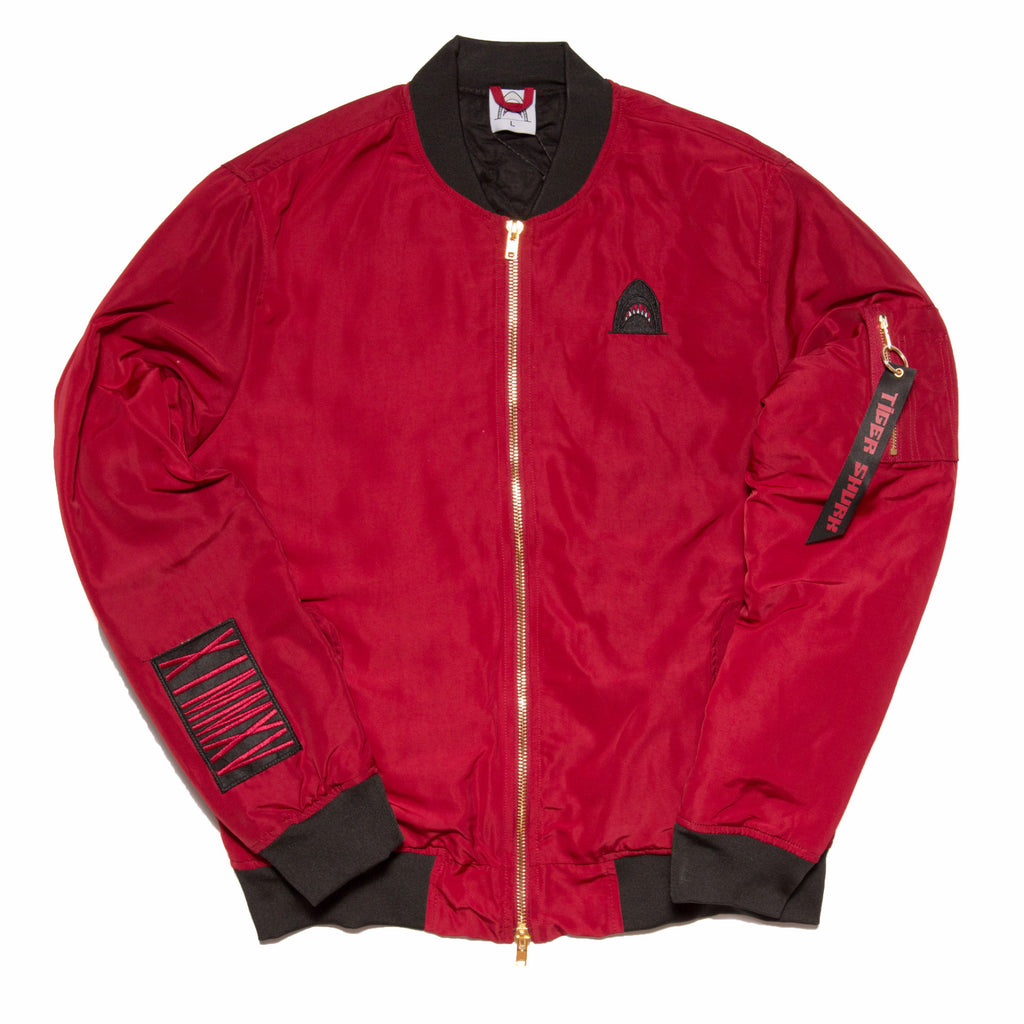 """Quilted King"" Deep Red Cut & Sewn Bomber"