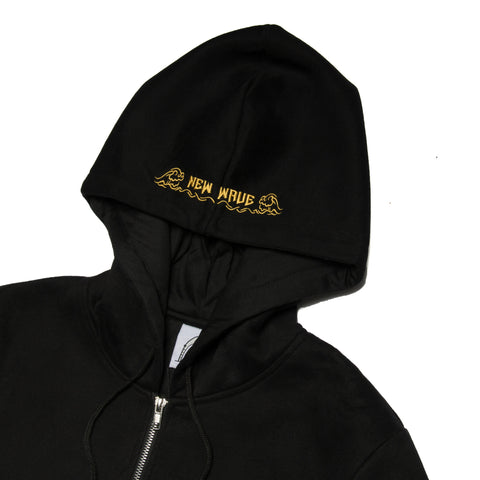 """New Wave"" Black Zip-up Cozy Hoodie"