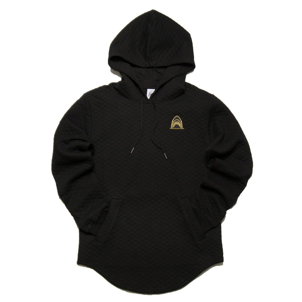 """Quilted Scoop"" Black Cut & Sewn Hoodie"