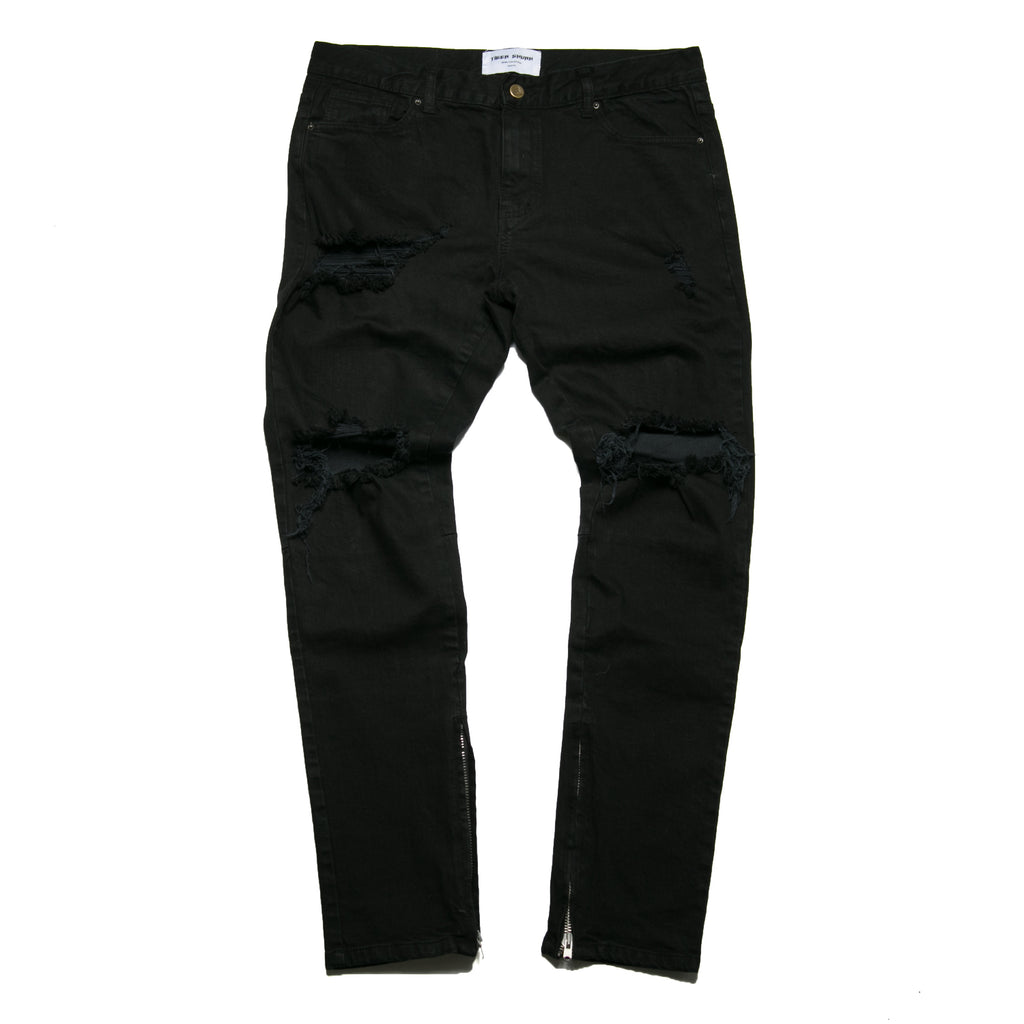 """Destroyed Essential"" Black Skinny Denim"