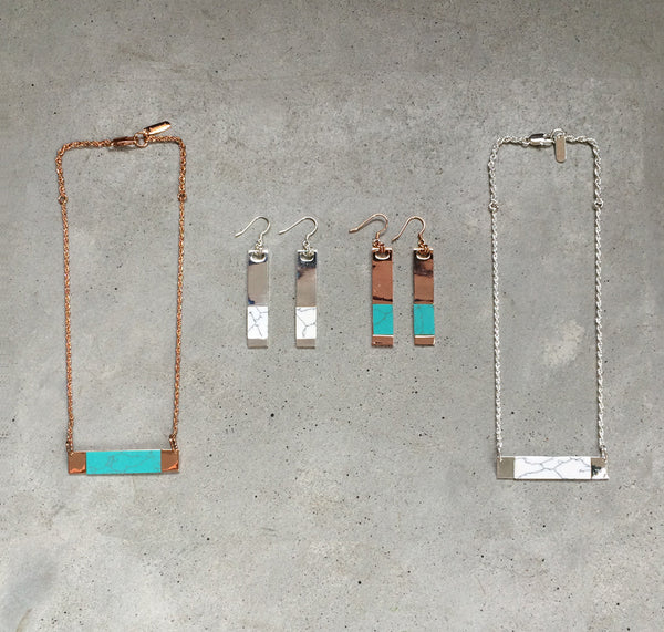 rose gold and turquoise inlaid earrings