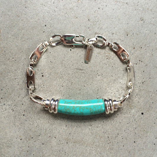 sterling silver bracelet with turquoise pendant