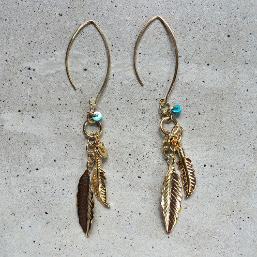 light bronze bohemian feather earrings