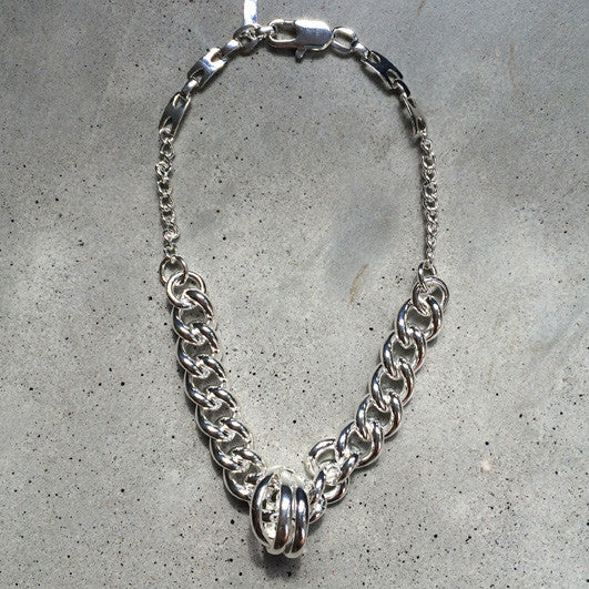 short sterling silver chunky chain necklace