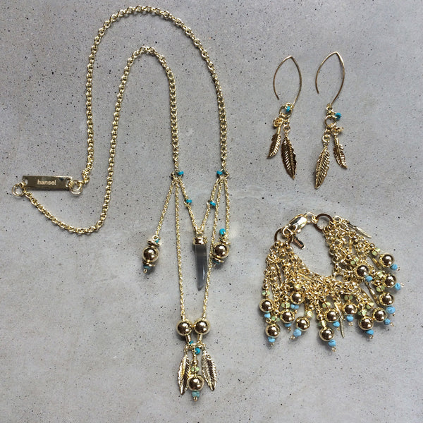 long bohemian light bronze necklace with feathers and pendants